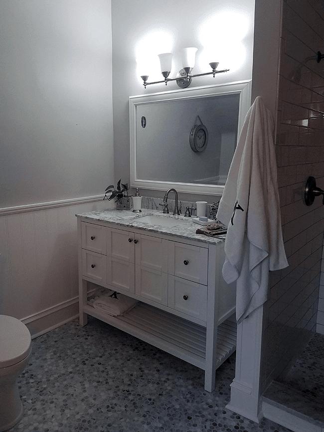 flooring installation of bathroom tile mosaic