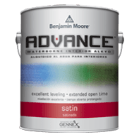 Paint can of Ben Moore Advance Semi-gloss