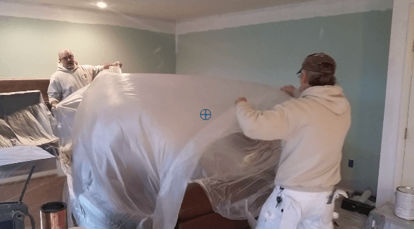 Interior painting contractor Klappenberger & Son protects contents with plastic