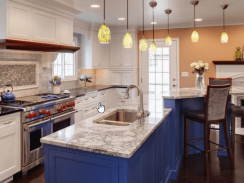Painting contractor painting white and blue kitchen cabinets from HGTV