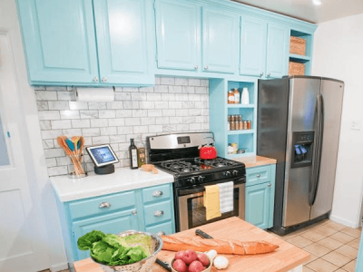 Painting kitchen cabinets this light and fresh blue color