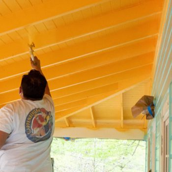 Exterior Painting company in Bethesda painting porch ceiling