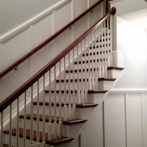 Wanescote molding was installed on wall and upstairs as well
