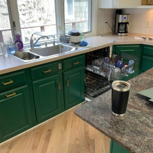 painting kitchen cabinets in Westminster a dark green color
