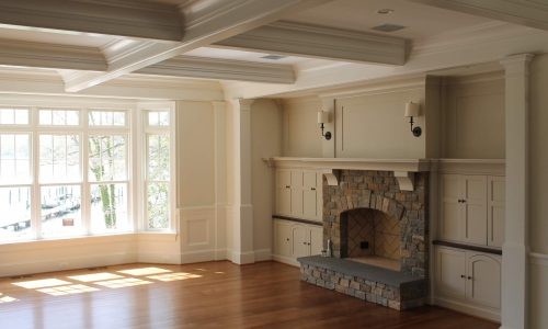 Interior painting in Frederick living room with lots of molding