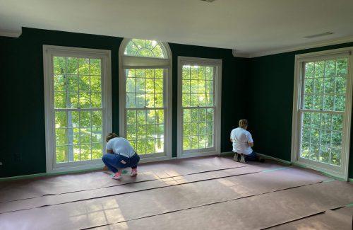Interior painting in Fairfax starts with protecting the floors